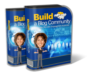 This image shows the software box image for the e-course called Build a Blog Community.