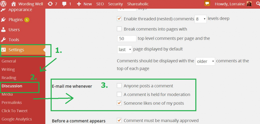 notifications from wordpress