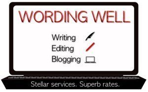 Wording Well's logo and business card image