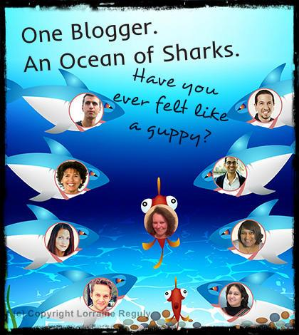 image of a guppy blogger in an ocean of sharks