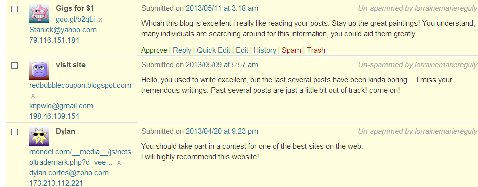 funny comments for my blog