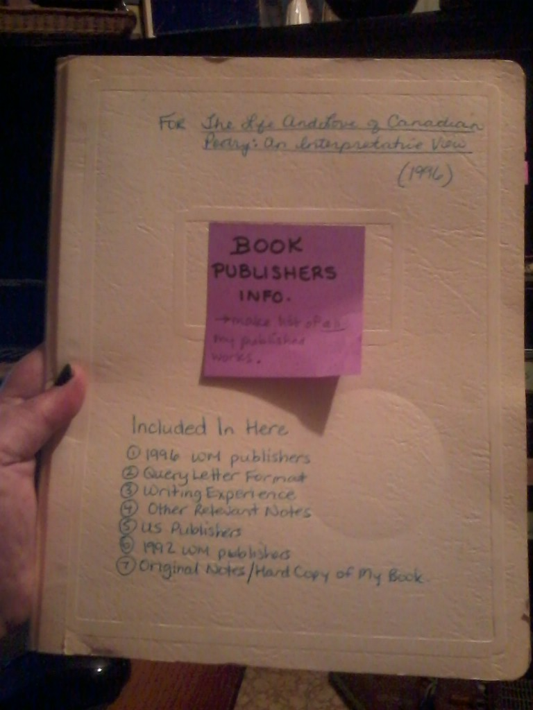 This duotang holds my old research notes on publishing!