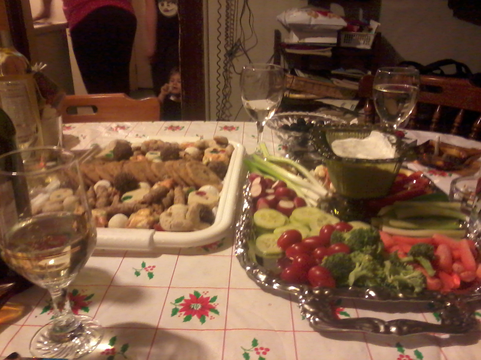Christmas baking/cookies is on one tray; veges and dip are on another. You can't say we didn't have a choice!