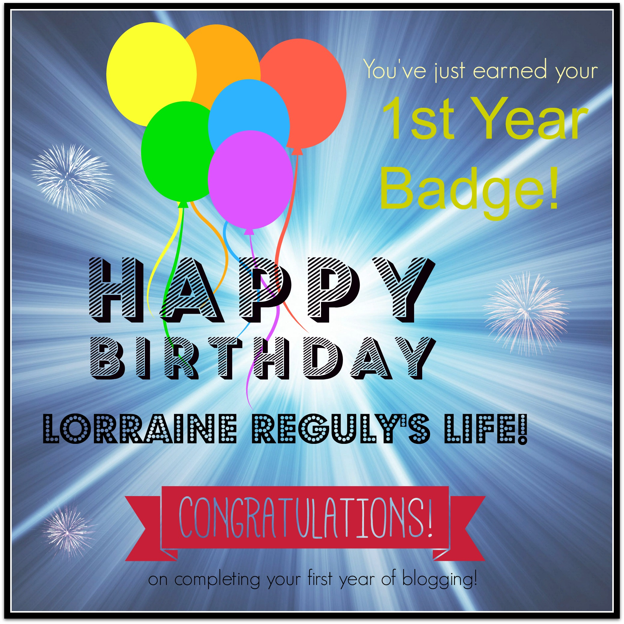 one year blogging badge
