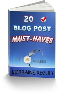 Wording Well's freebie: An e-book titled 20 Blog Post Must-Haves