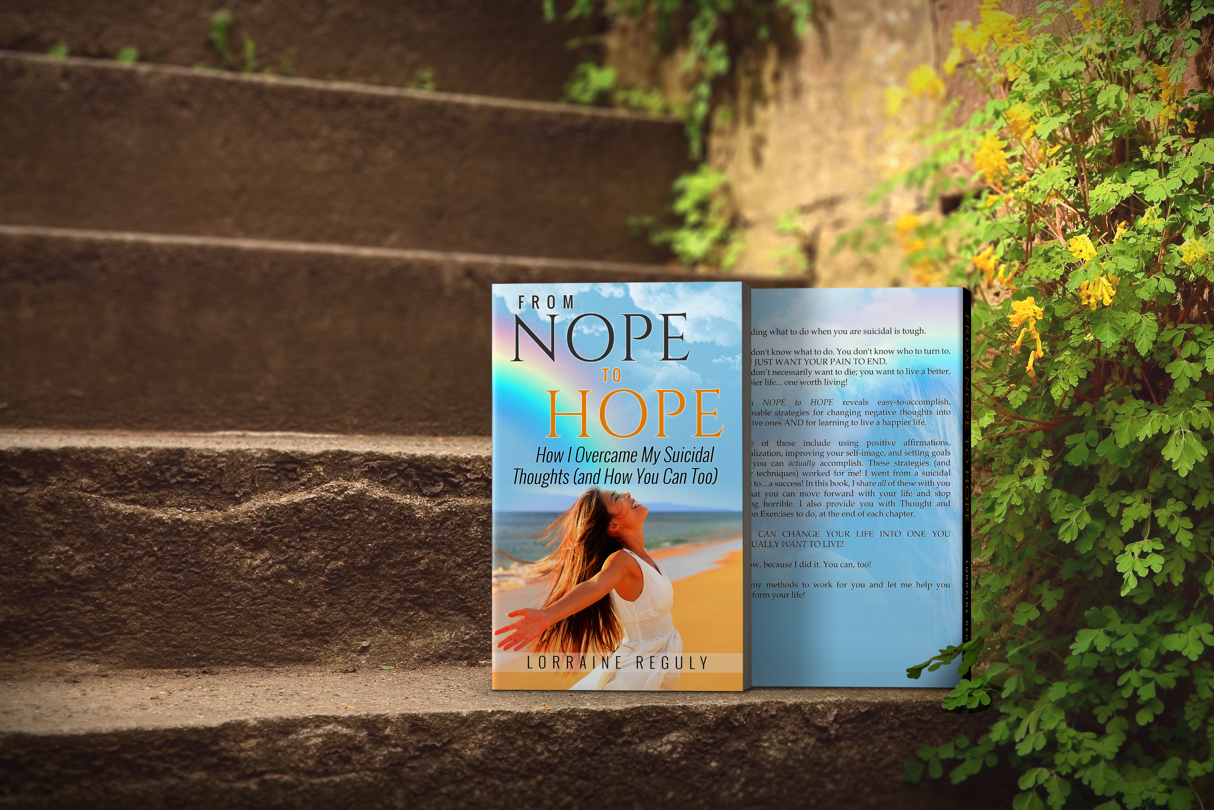 From Nope to Hope books sitting on the steps