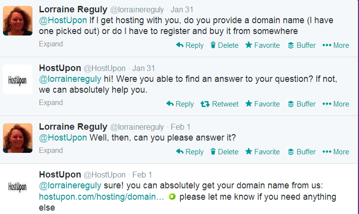 Twitter screenshot of conversation with HostUpon
