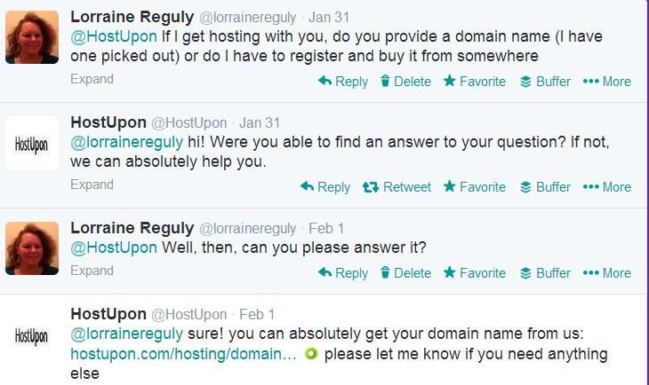 Twitter screenshot of conversation with HostUpon