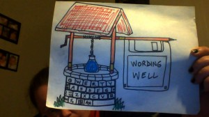 colour sketch of logo for Wording Well