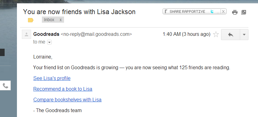 goodreads indicator of lisa jackson friend
