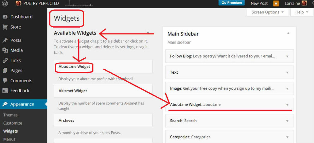 how the about.me widget looks in WordPress via a screenshot with important sections highlighted