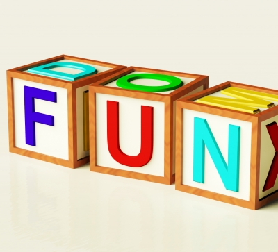 "block letters that spell the word ""fun"""