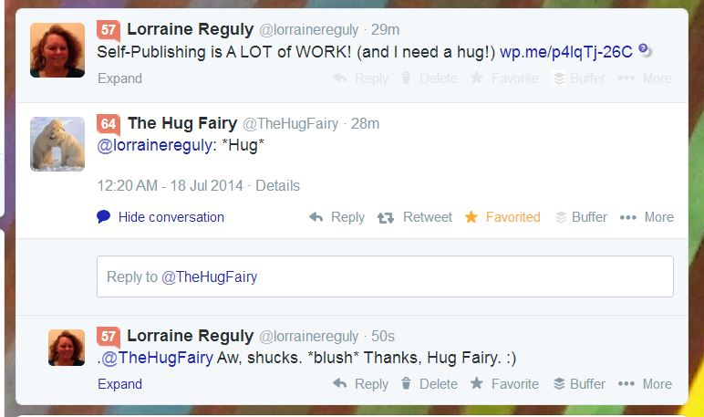 hug given in a conversation on Twitter