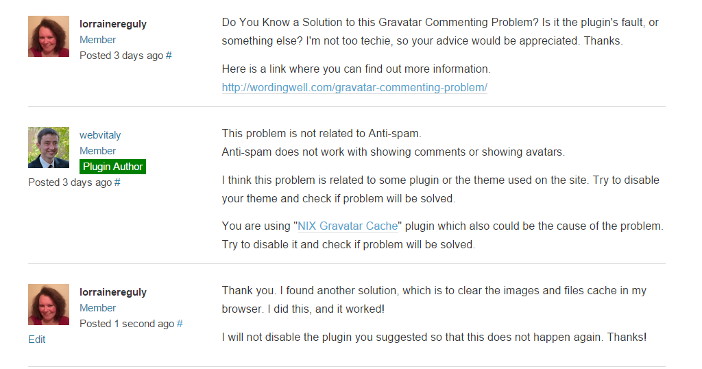 This screenshot shows the converstaion I had with Vitaly about the gravatar problem I am/was having.