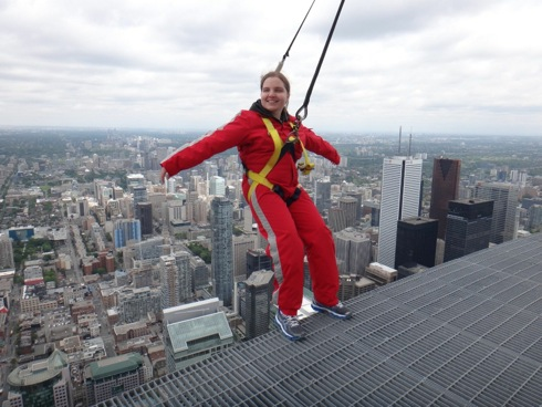 This is a photo of Kerry Kijewski, when she did a CN Tower Edge Walk, on one of her trips.