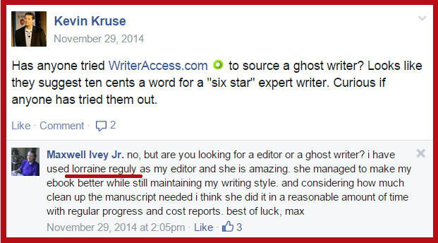 editing recommendation 1 from Max Ivey via Facebook