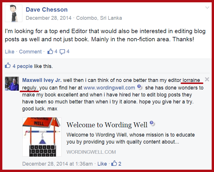 editing recommendation 3 from Max Ivey via Facebook