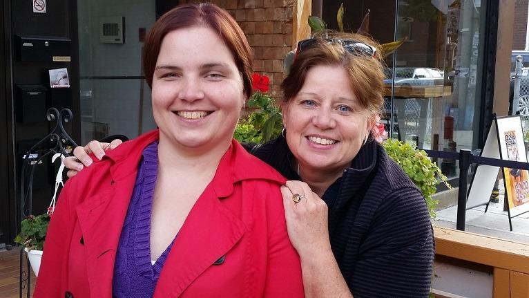 Kerri and Glenda outside Crepes Club