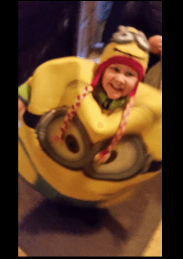 Sam dressed like a Minion for Halloween