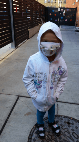 am wearing her mask outside RMH
