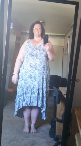 me wearing a dress after I lost 60 pounds