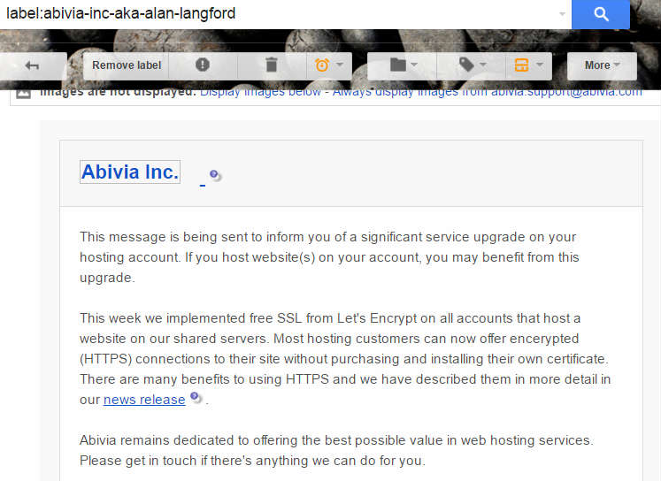 Email from Abivia informing me of a free SSL certificate upgrade to my hosting account
