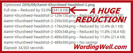 Proof of a huge reduction in image size as a result of using the EWWW image optimize