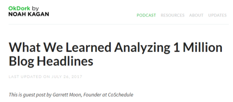 What We Learned Analyzing 1 Million Blog Headlines