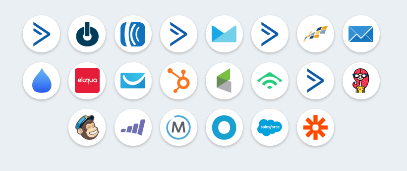 image of all email logos for email platforms that integrate with Interact Quizzes