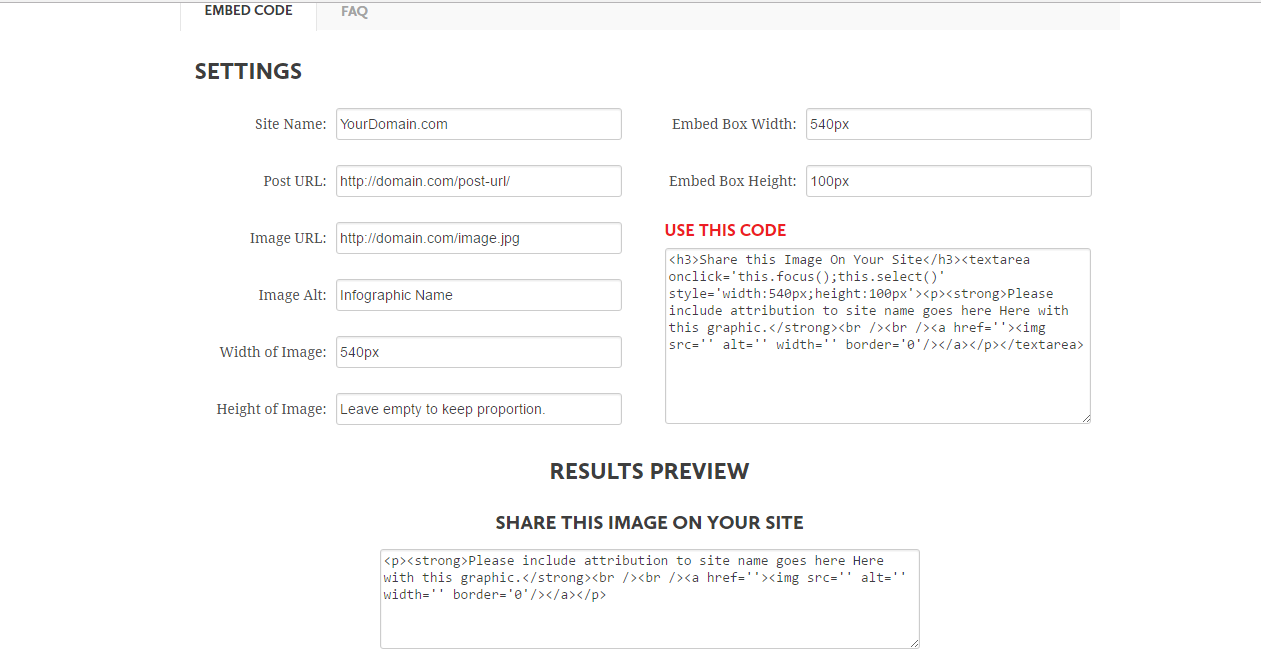 Screenshot of what you see when you go to the Siegemedia embed code generator tool