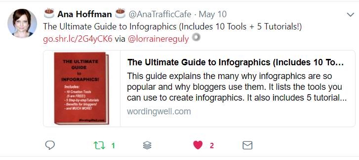 Ana's Tweet about my Infographics post