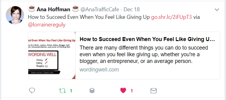 Ana's Tweet about my post about How to Succeed Even when You Feel Like Giving Up