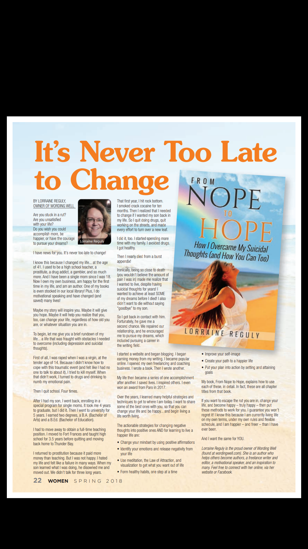 The article I wrote for the magazine called It's Never Too Late to Change