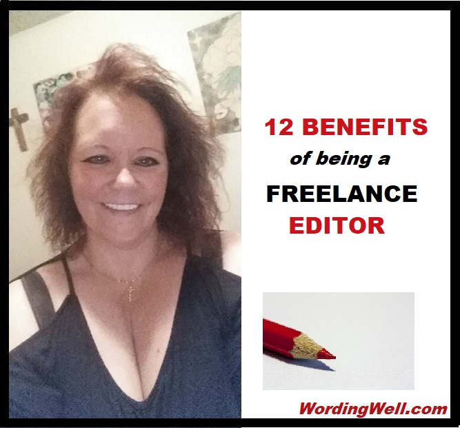 A picture of me as a freelance editor with a red editing pencil - for the article called 12 Benefits of Being a Freelance Editor