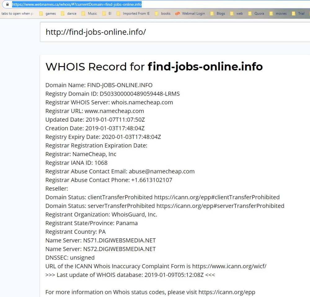WHOIS info for the site that stole from me